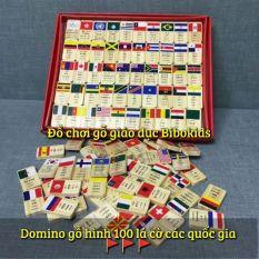 Domino gỗ hình 100 lá cờ các quốc gia trên thế giới