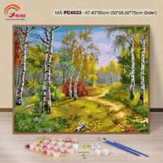 Tranh tự tô màu theo số sơn dầu số hóa Gam Cảnh thiên nhiên rừng núi mùa thu PC4033