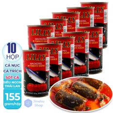 [ RẺ VÔ ĐỊCH – ĐẬM ĐÀ VỊ THÁI ] Combo 10 Hộp x 155gr Cá nục, cá trích sốt cà Lilly , Hạn sử dụng 24 tháng.