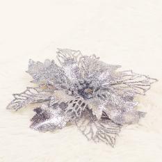 Bộ 2 Hoa trạng nguyên kim tuyến hand made trang trí noel cây thông giáng sinh