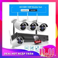Bộ 4 Camera WIFI 720P + Đầu Ghi NVR HD + Tặng Ổ Cứng Lưu Trữ 500GB