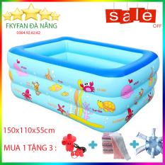 [ BỂ 1M5 ĐÁY CHỐNG TRƠN TRƯỢT + KÈM BƠM ĐIỆN ] Bể bơi bơm hơi 3 tầng hình chữ nhật dài 1m5 cỡ lớn cho trẻ em và người lớn chơi cùng, bể phao tắm đại dương họa tiết cute cho cả gia đình