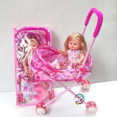 Combo xe đẩy và búp bê biết khóc, nói, cười, cùng phụ kiện bình sữa, bỉm, bô tè, màu hồng, kích thước cỡ đại