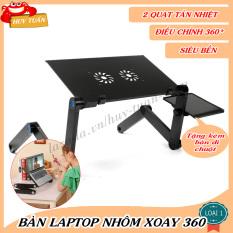 Bàn Laptop Nhôm Xoay 360 Độ Huy Tuấn Có Quạt Tản Nhiệt- Tặng Kèm Đế Di Chuột