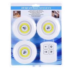 Bộ 3 Đèn LED Chiếu Sáng Dán Tường Không Dây 2 Chế Độ Sáng Có Điều Khiển Từ Xa Màu Vàng