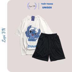 Đồ Bộ Hoạt Hình Unisex – Stitch xanh– Lapi VN, Set Cartoon, Freesize, Thun Cotton, Nam Nữ Đều Mặc Được