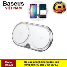 Đế sạc nhanh không dây kép Baseus WXXHJ sạc 2 máy cùng một lúc công xuâ-t 10W kèm củ sạc nhanh 24W QC3.0 thông minh chuâ-n Qi cho iphone X , iphone 8,Samsung S9, Note8