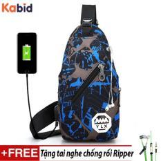 Túi đeo chéo nam siêu nhẹ YLX có khe cắm USB Tặng tai nghe dây rút thời trang