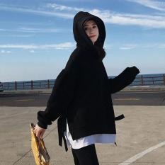 Áo Khoác Hoodie Nỉ Nữ Tay Dài Form Rộng Buộc Nơ Dây Sườn Mới 2019