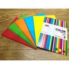 Xấp 100 tờ giấy in màu A4 định lượng 80 gsm PGRAND ( xanh lá, xanh dương, cam, vàng, đỏ, hồng, tím, be, xám )