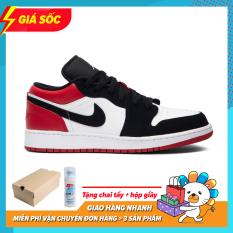 ( Tặng Hộp ) Giày Thể Thao Sneaker Nam Nữ Jordan1 Thấp Cổ Màu Đen Đỏ