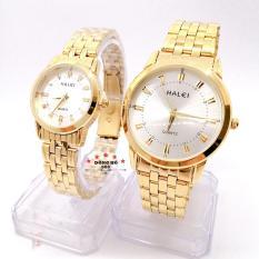Cặp Đồng hồ đôi nam nữ HALEI dây kim loại thời thượng ( HL502 dây vàng mặt trắng ) – TẶNG 1 vòng tỳ hưu phong thuỷ