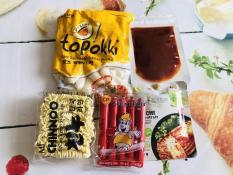 Combo 5 món bánh gạo phô mai( 500g bánh phô mai sốt mì chinnoo kimchi xúc xích)