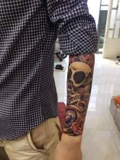 [ SIÊU GIẢM GIÁ TATTOO NAM BẮP TAY CÁ TÍNH 15 x 21 CM ] Hình xăm dán tatoo đầu lâu hoa hồng- miếng dán hình xăm đẹp dành cho nam