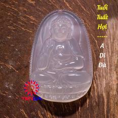 Dây chuyền mặt đá, Phật A Di Đà_ Phật hộ mệnh cho tuổi Hợi_Mặt Phật đá phong thủy_ Phật bản mệnh, Mặt Phật Đá Mã Não Trắng (2,4 x 3,6 cm)