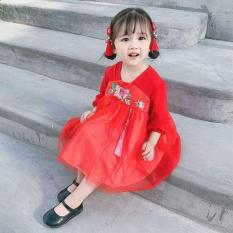 Đầm váy bé gái, váy xoè thêu hoa kiểu tiểu thư cho bé diện Tết size 10-20kg (màu đỏ)
