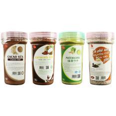 Combo 4 loại thức uống hòa tan độc đáo , Cacao sữa , Matcha sữa , Cà phê sữa , Cacao dừa , 90g/hũ