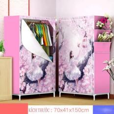 [Giá rẻ giảm 50%] Tủ vải 3D 1 buồng, 2 ngăn thiết kế gọn nhẹ, Tủ Đựng Quần Áo 1 Buồng 2 Ngăn Inox Bọc Vải Cao Cấp, tủ vải đựng quần áo, tủ vải quần áo, tủ vải treo quần áo