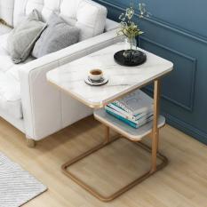 Bàn trà / tab trang trí vân đá châu âu mẫu vuông 2 tầng
