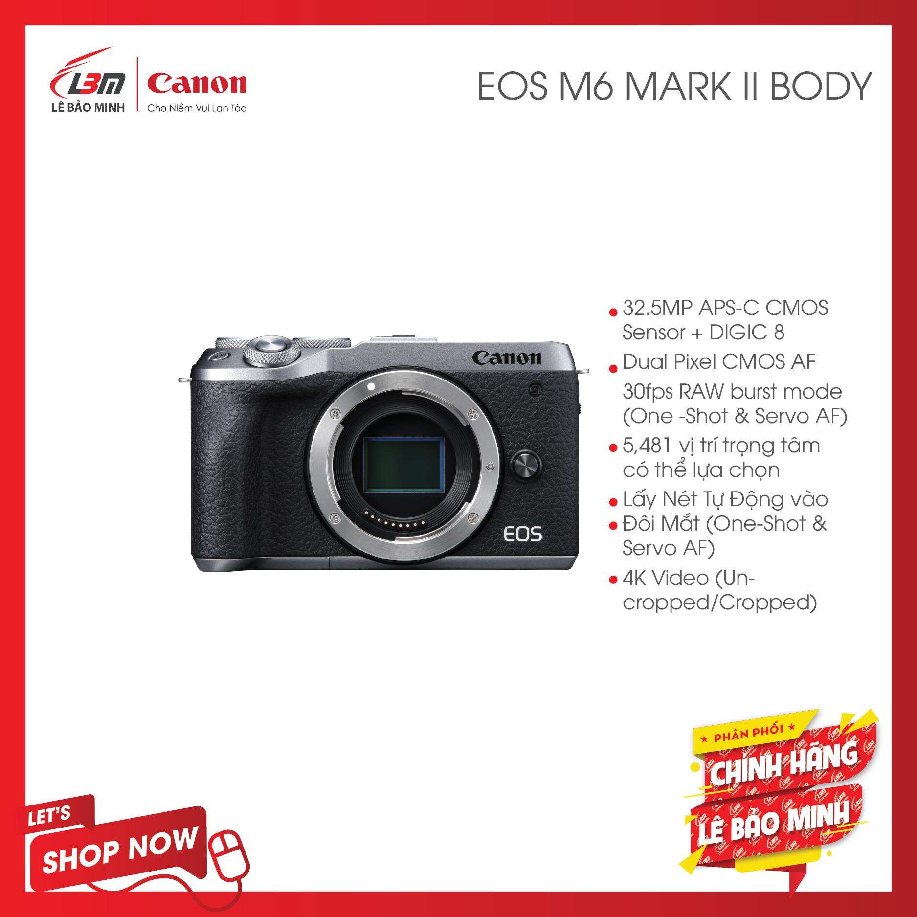 [Trả góp 0%]Máy Ảnh Canon EOS M6 Mark II Body – Hàng Chính Hãng Lê Bảo Minh