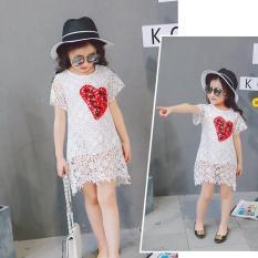 Đầm ren màu trắng bé gái