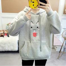 Áo Hoodie nữ thêu hình Mèo cực chất – Chất liệu nỉ bông – NL90