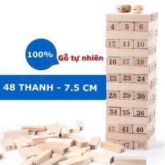 Bộ đồ chơi trí tuệ trẻ em , người lớn rút gỗ Jenga 48 thanh gỗ tự nhiên cao cấp SIZE ĐẠI giúp trẻ em khéo léo, thông minh nhanh nhẹn hơn và giảm stress, giải trí cho người lớn