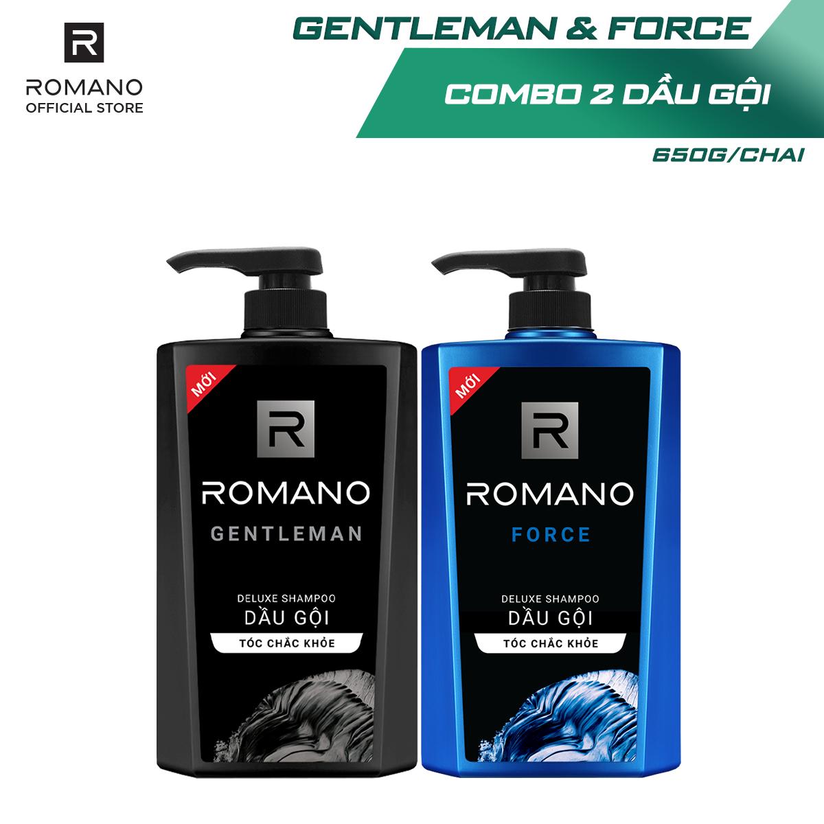 [Follow Shop -10k] Combo Dầu gội Romano Gentleman 650gr và Dầu gội Force 650gr