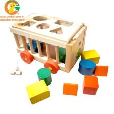 Xe cũi thả hình- Đồ chơi bằng gỗ an toàn cho bé