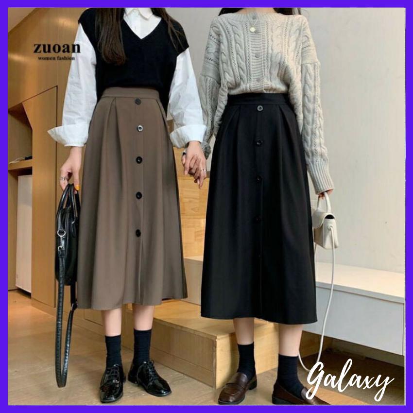 Mẫu mới! Chân váy dáng dài 5 cúc siêu hot, chân váy Midi dáng dài cực xinh – Galaxy store