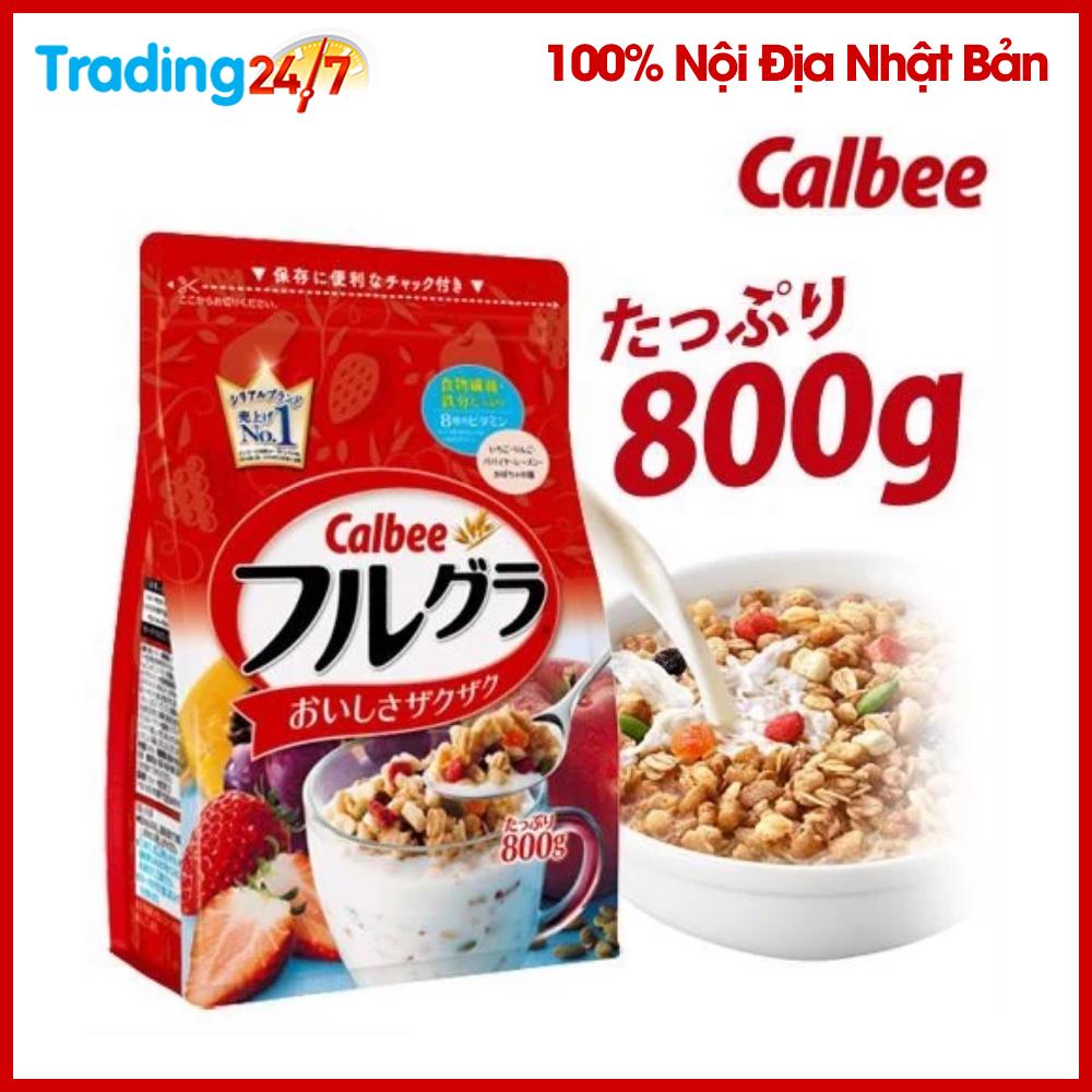 (HSD T3/2021) Ngũ cốc Calbee màu đỏ 800g Nhật Bản