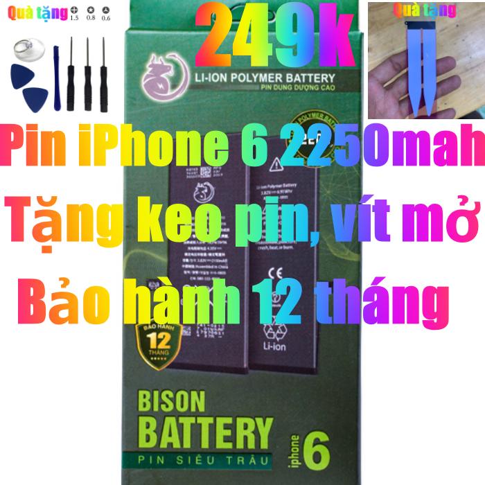 Pin iPhone 6 dung lượng cao 2250mAh BISON chính hãng