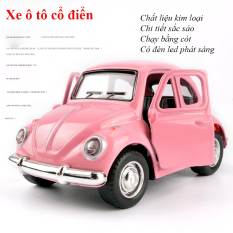 Xe mô hình đồ chơi ô tô sedan phong cách cổ điển, chất liệu kim loại, có led phát sáng, chạy cót màu ngẫu nhiên