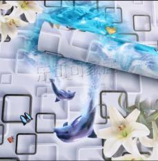 Cuộn 10m decal giấy dán tường cá heo và hoa ly khổ 0.45m keo sẵn bóc dán, chất liệu PVC, không thấm nước, bền màu, không độc hại
