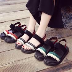 Dép sandal nữ quai ngang dây thổ cẩm đế bằng chun sau phong cách ulzzang hàn quốc sử dụng đi học đi làm đi chơi – sandal đế bánh mì, sandal đế bệt, dép quai hậu