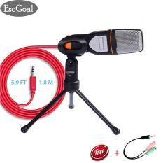EsoGoal Professional Condenser Sound Podcast Studio Recording Microphone Mic with Tripod Stand for PC Laptop Computer Apple Mac Skype (Black)