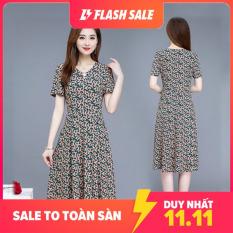 Đầm nữ cổ chữ V in họa tiết hoa nhí dễ thương, dáng rộng thoải mái, dành cho phụ nữ trung niên, cỡ L XL XXL XXXL XXXXL, giá tốt