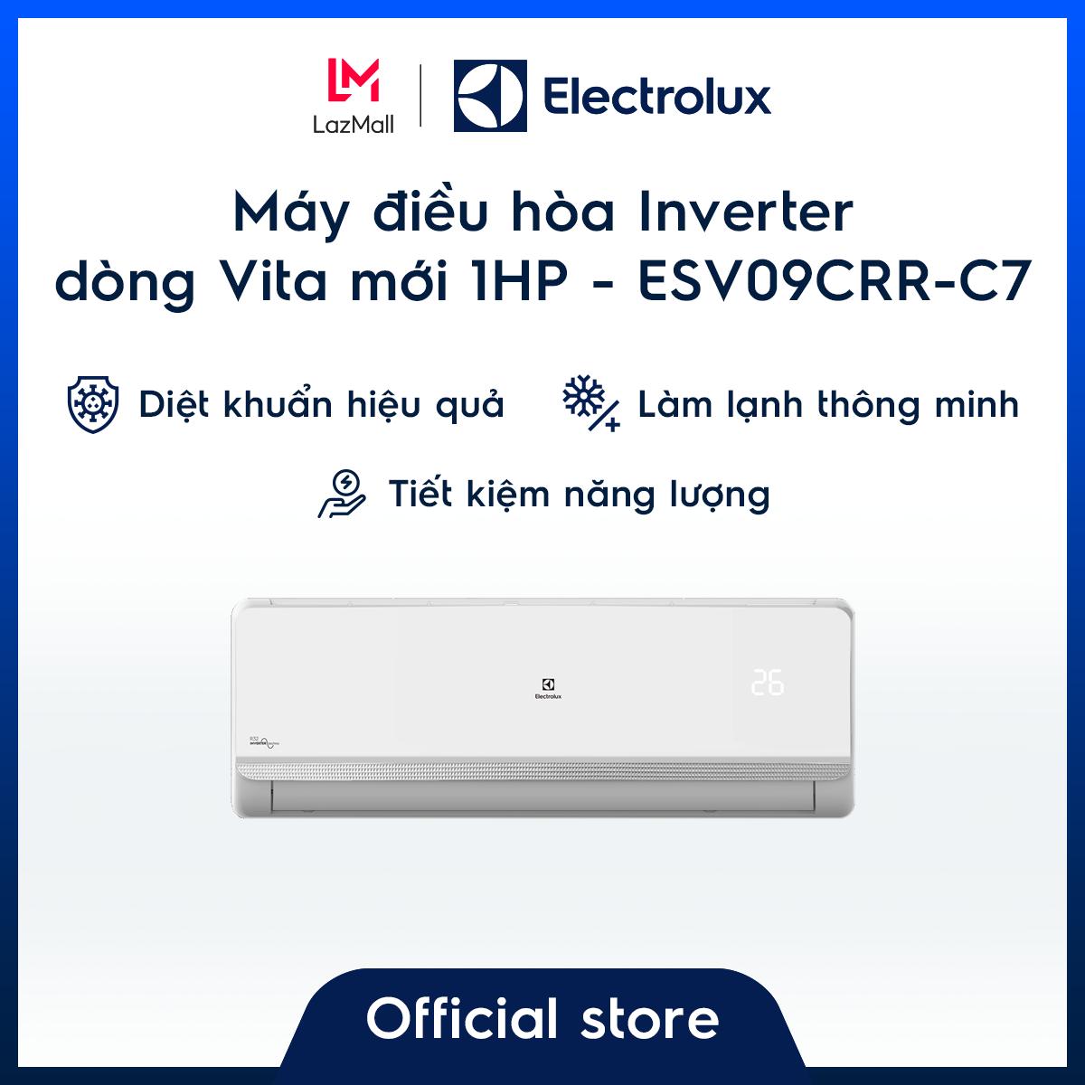 [Miễn phí giao hàng HCM & HN] Máy điều hòa Electrolux Inverter 1HP 9000BTU ESV09CRR-C7 – Màu trắng – Thiết kế châu Âu – Lọc khí trong lành – Hạn chế vi khuẩn – Tiết kiệm điện – Hàng chính hãng