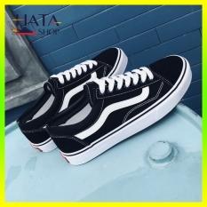 Giày sneaker nam nữ VANSS Hatashop màu đen trắng chất liệu vải cao cấp mang êm chân, Siêu bền, mang đi học, đi chơi cực đẹp, giày đôi mang cặp nam nữ sneaker, trẻ trung, năng động.