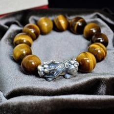 Vòng tay đá Mắt hổ vàng nâu 16li phong thủy Charm tỳ hưu bạc cao cấp s925 nam