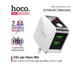 Củ Sạc Nhanh Đa Năng Hoco HK5 Dual USB Chính Hãng – Cốc Sạc Tự Ngắt – Có Màn Hình LED – BH 12 Tháng