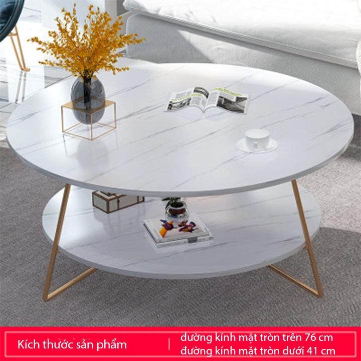 Bàn Trà, Bàn Cafe, Bàn sofa tròn vân đá, chân kim loại sơn tĩnh điện BAT015