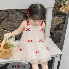 Váy bé gái – Váy công chúa ren 2 lớp dây nơ chuông siêu xinh