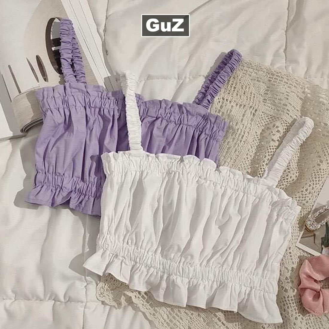 Áo croptop 2 dây đũi chun ngực dáng ôm body tmàu trắng tím guzfashion