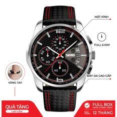 Đồng hồ nam SKMEI 9106 chính hãng dây da cao cấp SK9106- Fullbox – Chạy full 6 kim – Tặng gói bảo hành 12 tháng – tặng vòng tay cao cấp – gói hàng cẩn thận đúng mẫu
