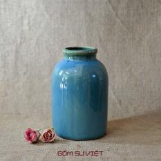 Lọ hoa gốm dáng chai men hỏa biến xanh nhạt – Gốm Bát Tràng