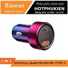 Tẩu củ sạc nhanh đa năng cho xe hơi / xe ô tô Type-C và USB hiệu Baseus Aurora (LED hiển thị, 45W – 6A, Quick Charge 3.0 / 4.0, sạc nhanh PD) (Bảo hành 06 tháng 1 đổi 1) – Phân phối bởi Hotpukien