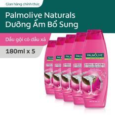 Bộ 5 Dầu gội kèm dầu xả Palmolive Dưỡng Ẩm bổ sung từ sữa dừa & protein 180ml