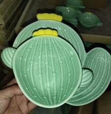 Combo cả bộ chén đĩa gốm sứ tráng men hình cây xương rồng gồm 3 chi tiết