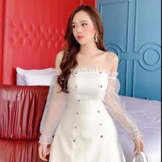 Váy Đầm Nữ Đầm Dự Tiệc Trễ Vai Cúp Ngực Phối Tay Lưới Thời Trang Thuy linh fashion [ kèm video thật ]